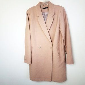 Women's Pink Lined Double Breast Trench Over Coat